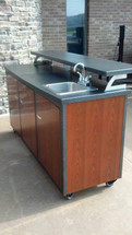"""Challenger 72"""" Patio Bar With Three Doors, Two Drawers, Shelves, Sink, Faucet, On Demand Water System With Gray Water Tank, Includes Countertop & Finished Back-Completely Finished-Choose Your Own Colors!"""