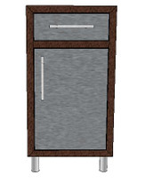 Challenger Waste Basket Base Module With Slide Out Tray, One Door, & One Drawer-Includes Countertop & Finished Back-Mix & Match To Design Your Own Layout! Completely Finished-Choose Your Own Colors!