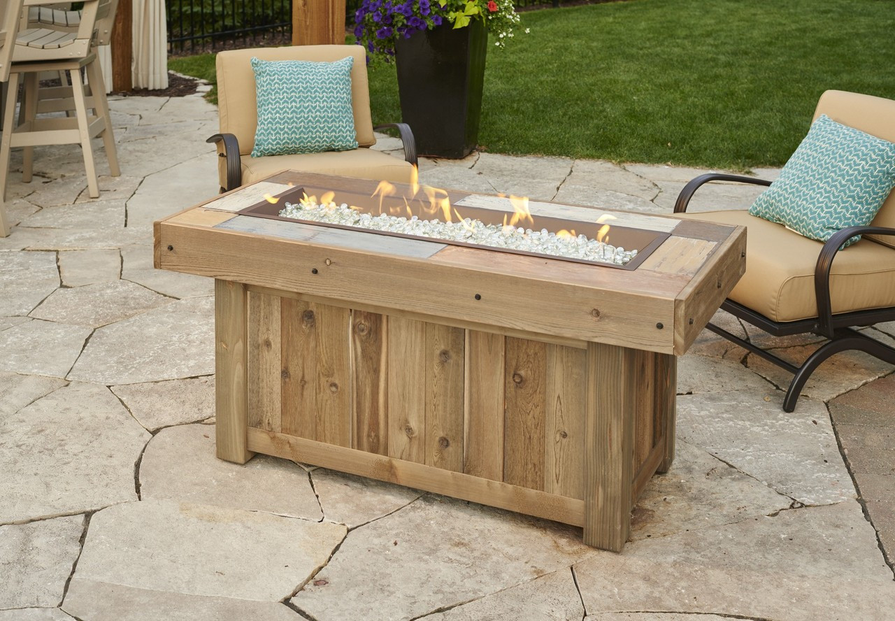 Outdoor Greatroom Company Vng 1242brn Vintage Linear 1242 Fire Table