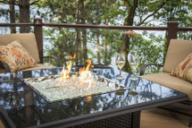 Outdoor GreatRoom Company NV-2424-BLK-K Napa Valley Square Burner Fire Table In Absolute Black Drop-in Granite Tiles