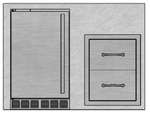 "48"" Mod Double Drawers & Refrigerator"