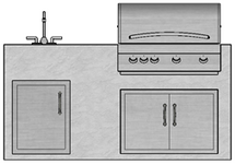 "71"" Mod Grill, Double Doors, Single Door & Sink"