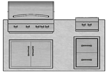 "71"" Mod Grill, Double Doors, Double Drawers & Double Side Burner"