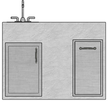 R-48TSDSBLBS RTF SNC Trash, Single Door and Sink with Bak Splash