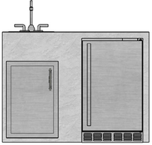R-48RSDSBLBS RTF SNC Refrigerator, Single Door & Sink with Back Splash