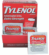"""Tylenol"" Box of 50 Packs of 2 Tablets"