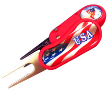 """Flix"" American Flag Switchblade Style Divot Tool"