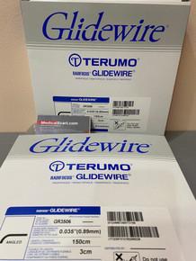 "GR3506 Terumo Glidewire ® RF*GA35153A Hydrophilic Coated Guidewire for Peripheral Application Standard, angle tip, .035"" diameter, 150 cm long, 3 cm flexible tip length. Box of 5"