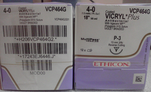 "Ethicon VCP464G Coated VICRYL Plus Suture,Precision Point-Rev Cutting, P-3 13mm 3/8 Circle, 18"", 4-0 . Box of 12"