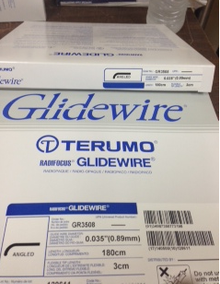 "GR3508 Terumo Glidewire ® Hydrophilic Coated Guidewire for Peripheral Application Standard, angle tip, .035"" diameter, 180 cm long, 3 cm flexible tip length. Box of 5"
