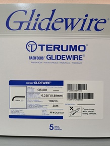 "GR3508 Terumo Glidewire ® RF*GA35183A Hydrophilic Coated Guidewire for Peripheral Application Standard, angle tip, .035"" diameter, 180 cm long, 3 cm flexible tip length. Box of 5"