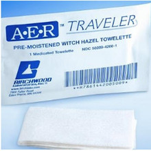 Birchwood 14-4200-50 A-E-R Traveler Pre-Moistened Witch Hazel Towelette, case of 600