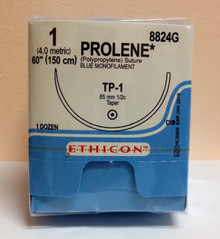 "Ethicon 8824G PROLENE Suture, Taper Point, Non-Absorbable, TP-1 65mm ½ Circle, Blue Monofilament 60"" ˜ 150cm, Size: 1"