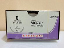 """Ethicon J352H Coated VICRYL Suture, Taper Point, Absorbable, CT 40mm ½ Circle, Violet Braided 27"""" ˜ 70cm, Size: 0"""