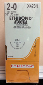 """Ethicon X423H ETHIBOND EXCEL Suture, Taper Point, Non-Absorbable, CT-1 36mm ½ Circle, Green Braided 30"""" ˜ 75cm, Size: 2-0"""