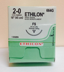 "Ethicon 664G ETHILON Suture, Reverse Cutting, Non-Absorbable, FS 26mm 3/8 Circle, Black Monofilament 18"" ˜ 45cm, Size: 2-0"