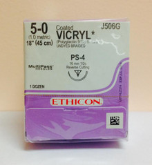 "Ethicon J506G Coated VICRYL Suture, Precision Point - Reverse Cutting, Absorbable, PS-4 16mm ½ Circle, Undyed Braided 18"" ˜ 45cm, Size: 5-0"