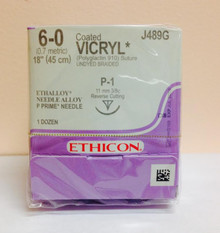 "Ethicon J489G Coated VICRYL Suture, Precision Point - Reverse Cutting, Absorbable, P-1 11mm 3/8 Circle, Undyed Braided 18"" ˜ 45cm, Size: 6-0"