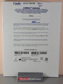 Cordis 502-542 Emerald 502542, Fixed-core PTFE Coated Wires .035 x 150 cm, Box of 5