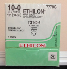 Ethicon 7770G ETHILON Suture MICROPOINT - Spatula Non-Absorbable TG140-6 6.5mm / TG140-6 3/8 Circle, Black. Box/12