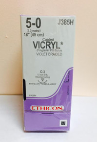 "Ethicon J385H Coated VICRYL Suture, Reverse Cutting, Absorbable, C-3 13mm 3/8 Circle, Violet Braided 18"" ˜ 45cm, Size: 5-0, Qty: 36/box"