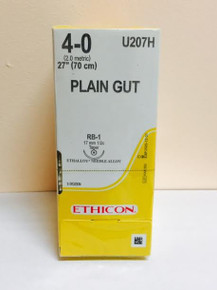 "Ethicon U207H Surgical Gut Suture - Plain, Taper Point, Absorbable, RB-1 17mm ½ Circle, Plain Monofilament 27"" ˜ 70cm, Size: 4-0, Qty: 36/box"