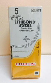 "Ethicon B499T ETHIBOND EXCEL Suture, Reverse Cutting, Non-Absorbable, LR 75mm / LR 3/8 Circle, Green Braided 30"" ˜ 75cm, Size: 5, Qty: 24/box"