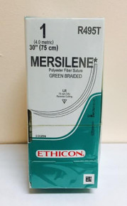 "Ethicon R495T MERSILENE Suture, Reverse Cutting, Non-Absorbable, LR 75mm / LR 3/8 Circle, Green Braided 30"" ˜ 75cm, Size: 1, Qty: 24/box"