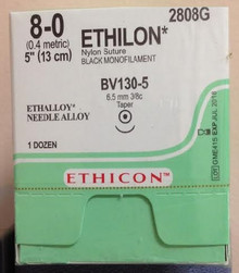 "Ethicon 2808G ETHILON Suture, Non-Absorbable, Taper Point, BV130-5 6.5mm 3/8 Circle, Black Monofilament, 5"" ˜ 13cm, Size: 8-0,  Box of 12. Price per box"