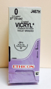 "Ethicon J467H Coated VICRYL Suture, Reverse Cutting, Absorbable, CP-1 36mm ½ Circle, Violet Braided 27"" ˜ 70cm, Size: 0, Qty: 36/box"