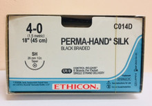 "Ethicon C014D PERMA-HAND Suture, Taper Point, Non-Absorbable, SH 26mm ½ Circle, Black Braided 8-18"" ˜ 45cm, Size: 4-0, Qty: 12/box"