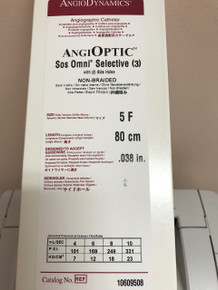 "H787106095085 10609508 AngiOptic Sos Omni 3 5F / 80 cm / .038"" SELECTIVE CATHETERS  w/ 2 side holes"