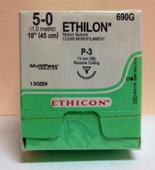 "Ethicon 690G EXPIRE 2020-11 ETHILON Suture, Precision Point - Reverse Cutting, Non-Absorbable, P-3 13mm 3/8 Circle, Undyed Monofilament 18"" ˜ 45cm, Size: 5-0. Box/12"