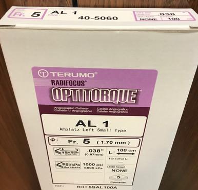 40-5060, RH*5SAL100A, Optitorque, 5Fr, AL1, Amplatz, Left,COM-Shape, Angiographic, Catheter