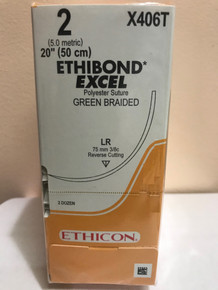 "Ethicon X406T ETHIBOND EXCEL Suture, Non-Absorbable, Reverse Cutting, LR 75mm 3/8 Circle, Green Braided, 20"" ˜ 50cm, Size: 2, 24/box"