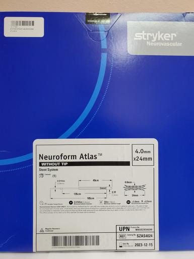 STRYKER SZAS4024 NeuroForm Atlas™ Stent System 4.0mm x 24mm without tip  Exp. 2023-12-15