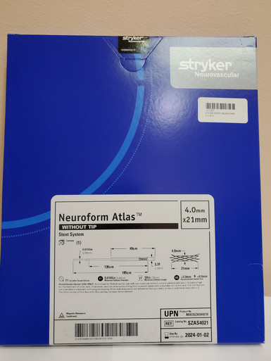 STRYKER SZAS4021 NeuroForm Atlas™ Stent System 4.0mm x 21mm without tip  Exp. 2024-01-02 (2) Exp. 2024-01-15 (1)