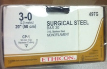 "Ethicon #497G Surgical Stainless Steel Suture, Reverse Cutting, Non-Absorbable, CP-1 36mm / CP-1 36mm, Monofilament B & S 30 20"" ˜ 50cm, Size: 3-0, Qty: 12/box"