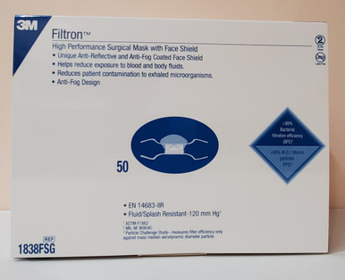3M 1838FSG, Surgical Mask with Eye Shield Filtron™, Anti-fog Shield Duckbill Tie Closure One Size Fits Most Blue NonSterile, Box of 50
