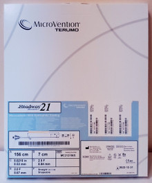 "Microvention MC212156S Headway 21® Microcatheter with Hydrophilic Coating, ID 0.021"" , Straight tip, 156cm, OD Prox. 2.5Fr. , Distal 2.0Fr, 2 tip markers"