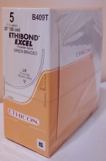 "ETHICON B409T, Suture, ETHIBOND EXCEL, Reverse Cutting, LR 75mm 3/8 Circle, Material: Green Braided, Length: 20"", Size 5, Box of 24"