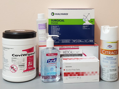 PPE coronavirus COVID-19 Essentials Kit PEK COVID-19, with Surgical Mask Tie Closure,  One Size Fits Most Blue 01 box of 50; 01 bottle Purell Hand Sanitizer 12 fl oz;  Medical Disinfectant CaviWipes 01 can of 160 wipes; Alcohol Prep Pads  01 box of 200 Packets;  Gloves Exam Latex, Medium, 01 box of 100 gloves; Isopropyl Alcohol 70%, 01 bottle of 4 fl 0z; Surface Disinfectant / Deodorizer Clorox Healthcare® Citrace®  Aerosol Spray Citrus Scent, 01 can of 14 oz. (C19PEK3)
