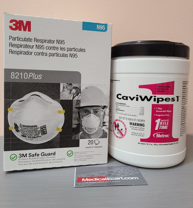 """Essentials Kit PEK COVID-19, with Respirator Mask 3M™ N95, #8210 Plus, Box of 20; CaviWipes1™ 13-5100 Surface Disinfectant, Premoistened Alcohol Based, Large Canister, 6"""" x 6.75"""" with 160 wipes (C19PEK5)"""