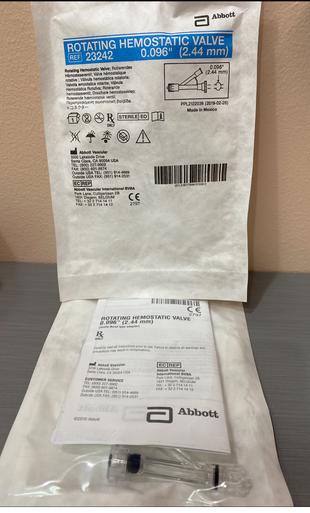 "Abbott 23242 Rotating Hemostatic Valve .096"" (2,44mm), Box of 25"