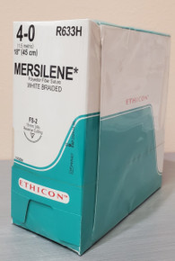 """Ethicon R633H MERSILENE Suture, Reverse Cutting, FS-2, 18"""", Size 4-0, Box of 36"""