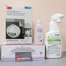 Essentials Kit PEK COVID-19, with Respirator Mask 3M™ N95, #8210 Plus, Box of 20;  Surface Disinfectant Cleaner Asepticare® Alcohol Based Liquid, 01 Bottle  32 oz;   Cardinal Health™ 70% Antiseptic Isopropyl Alcohol Solution, 01 Bottle of 8 fl oz; Gloves Exam Nitrile, Large, box of 250  (C19PEK10)