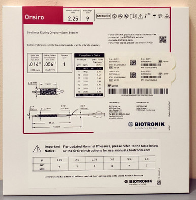 BIOTRONIK 401729 Orsiro Sirolimus Eluting Coronary Stent System 2.25 mm x 9 mm, Box of 01