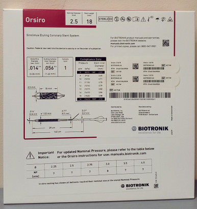 BIOTRONIK 401748 Orsiro Sirolimus Eluting Coronary Stent System 2.5 mm x 18 mm, Box of 01