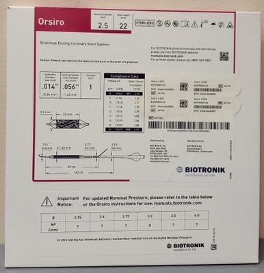 BIOTRONIK 401754 Orsiro Sirolimus Eluting Coronary Stent System 2.5 mm x 22 mm, Box of 01
