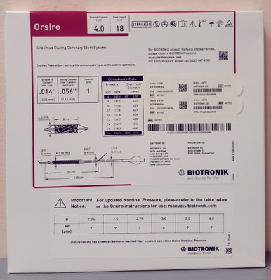 BIOTRONIK 401752 Orsiro Sirolimus Eluting Coronary Stent System 4.0 mm x 18 mm, Box of 01